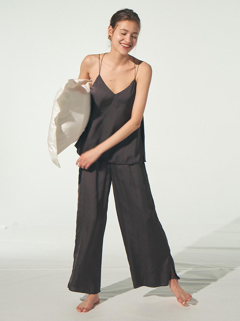 緞澤蕾絲細節長褲