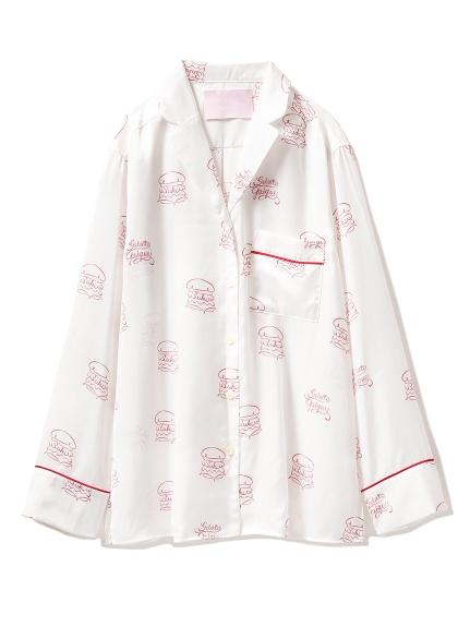 【Suki Waterhouse】漢堡印花緞面襯衫