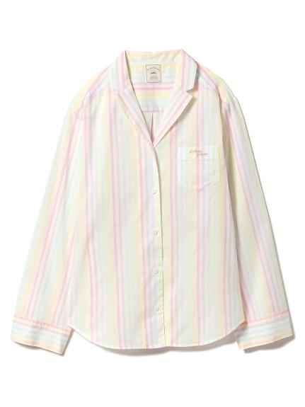 糖果色直條紋居家襯衫