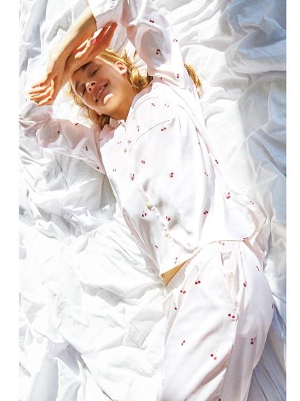 櫻桃緞面居家襯衫