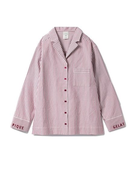 棉質細條紋襯衫睡衣