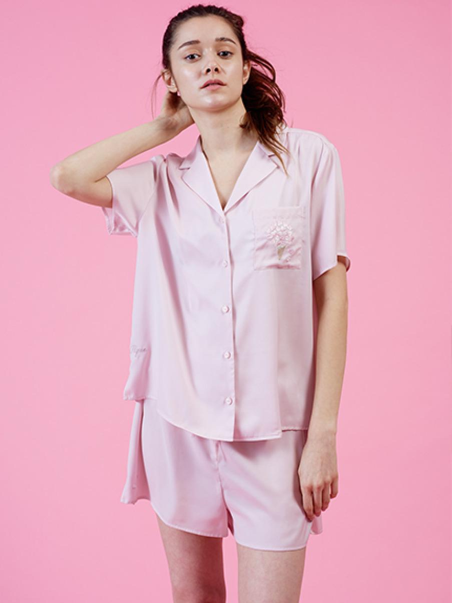 【SAKURA FAIR】櫻花刺繡緞面襯衫