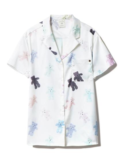 泰迪熊主題緞面襯衫