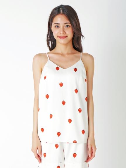 【PARIYA】草莓緞面細肩帶上衣