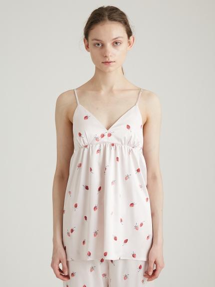 草莓圖案緞面細肩帶背心