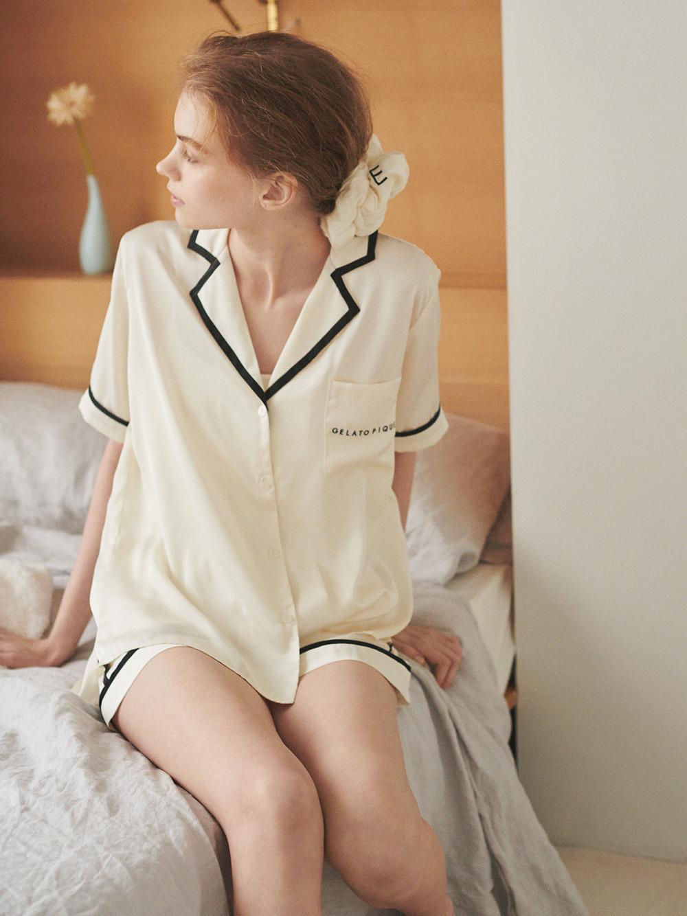 緞面鑲邊襯衫
