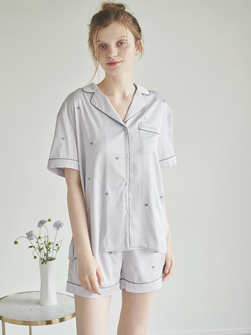 愛心刺繡緞面襯衫
