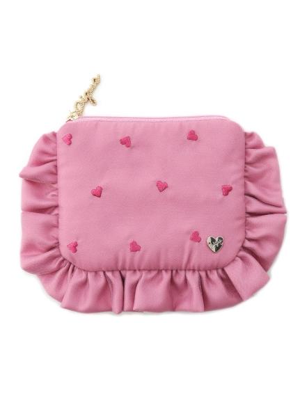 愛心刺繡荷葉面紙收納包