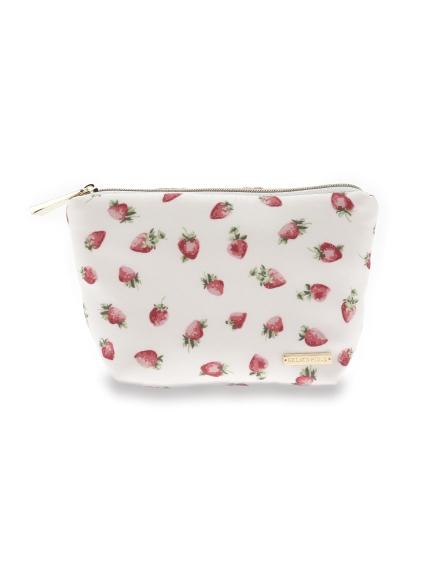 草莓主題緞面面紙收納包