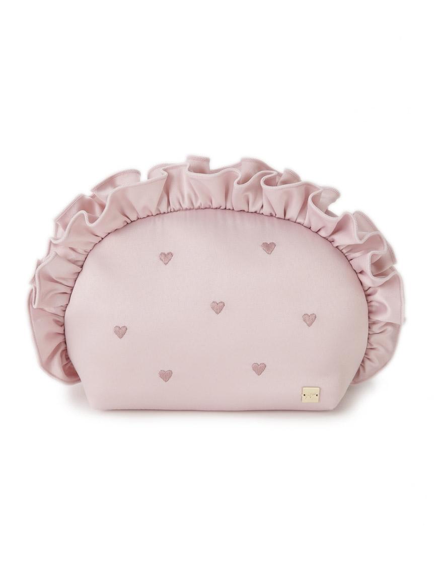 愛心刺繡緞面收納包