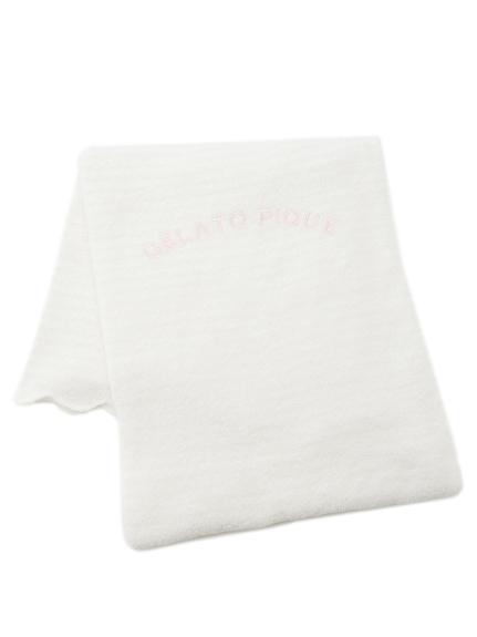 million ice'條紋刺繡毛巾