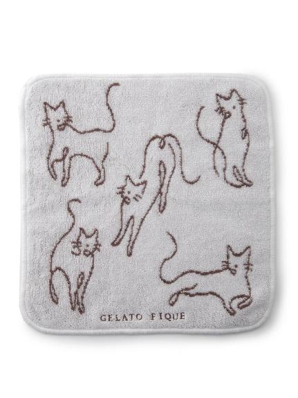 線條貓咪插畫手帕