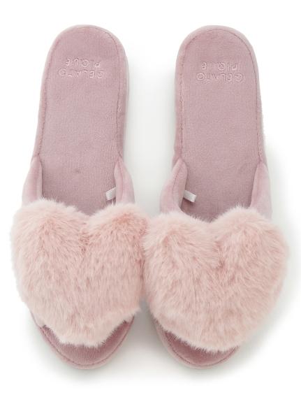 毛絨愛心室內拖鞋