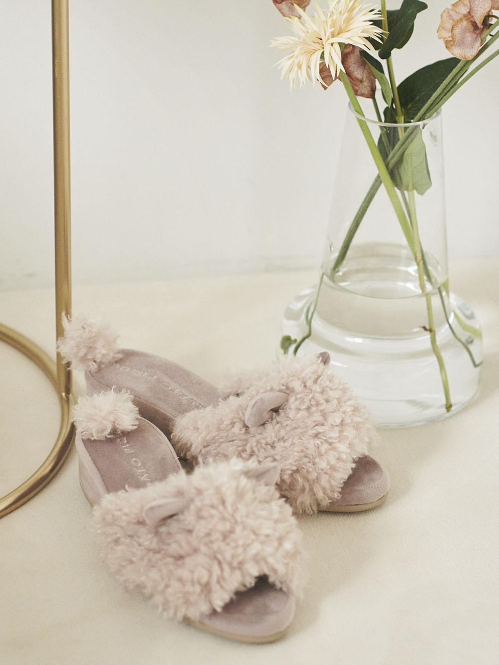 塞爾凱克捲毛貓 低跟室內拖鞋