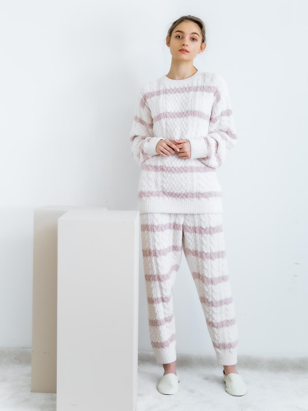 橫條紋編織長褲