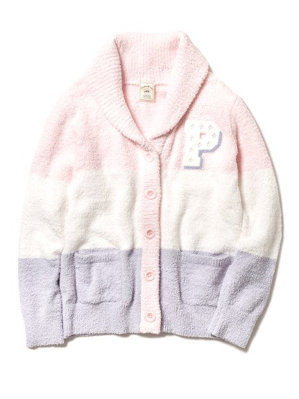 'baby moco'3條紋刺繡開襟衫