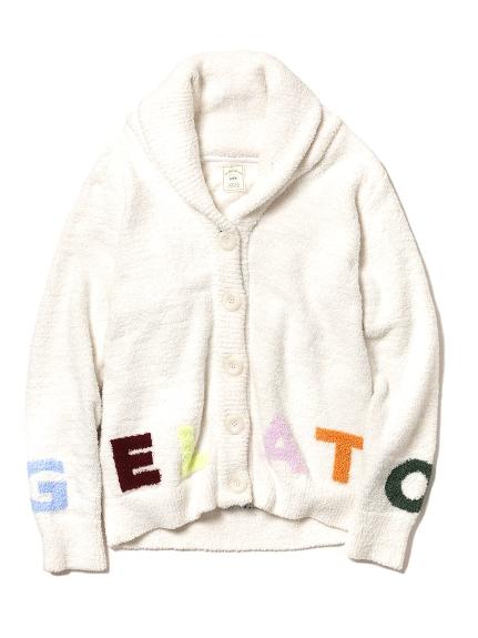 彩色字母緹花翻領開襟外套