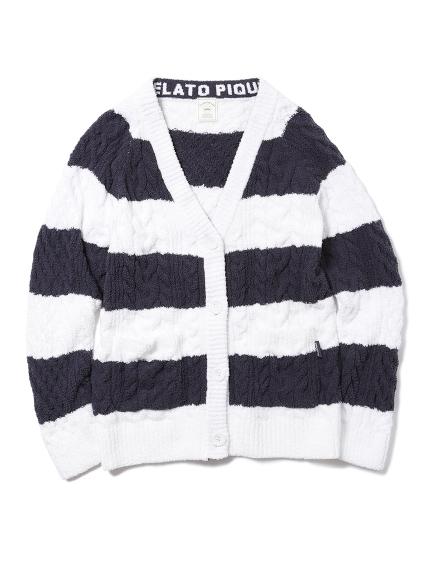 條紋編織開襟外套
