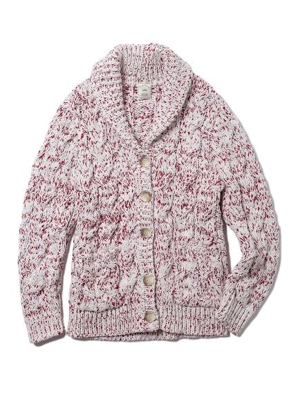 麻花編織翻領開襟外套