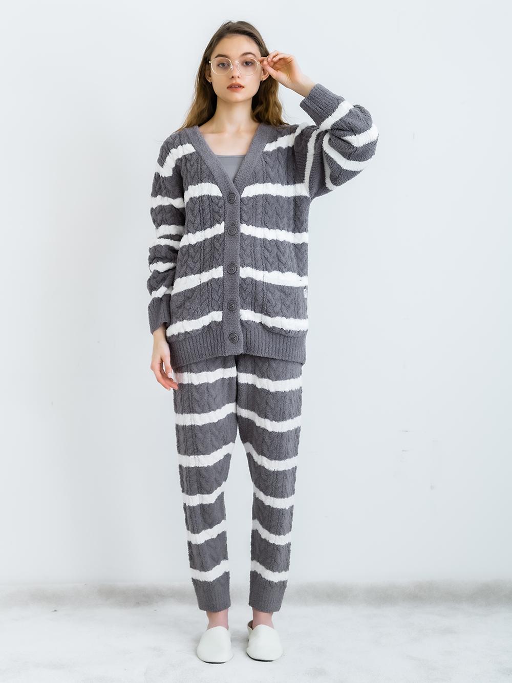 橫條紋編織外套