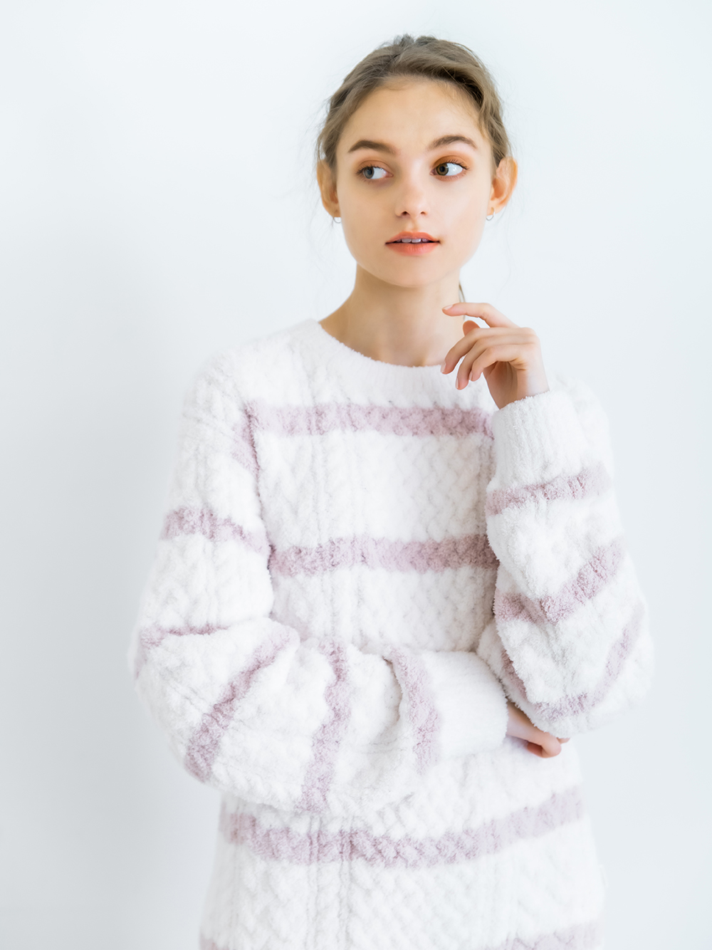 橫條紋編織上衣
