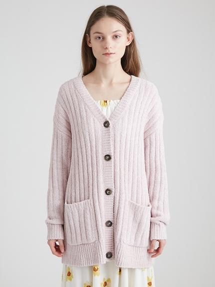 混色羅紋長版針織外套