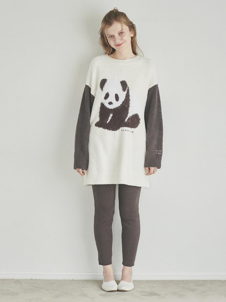 熊貓緹花寬鬆上衣