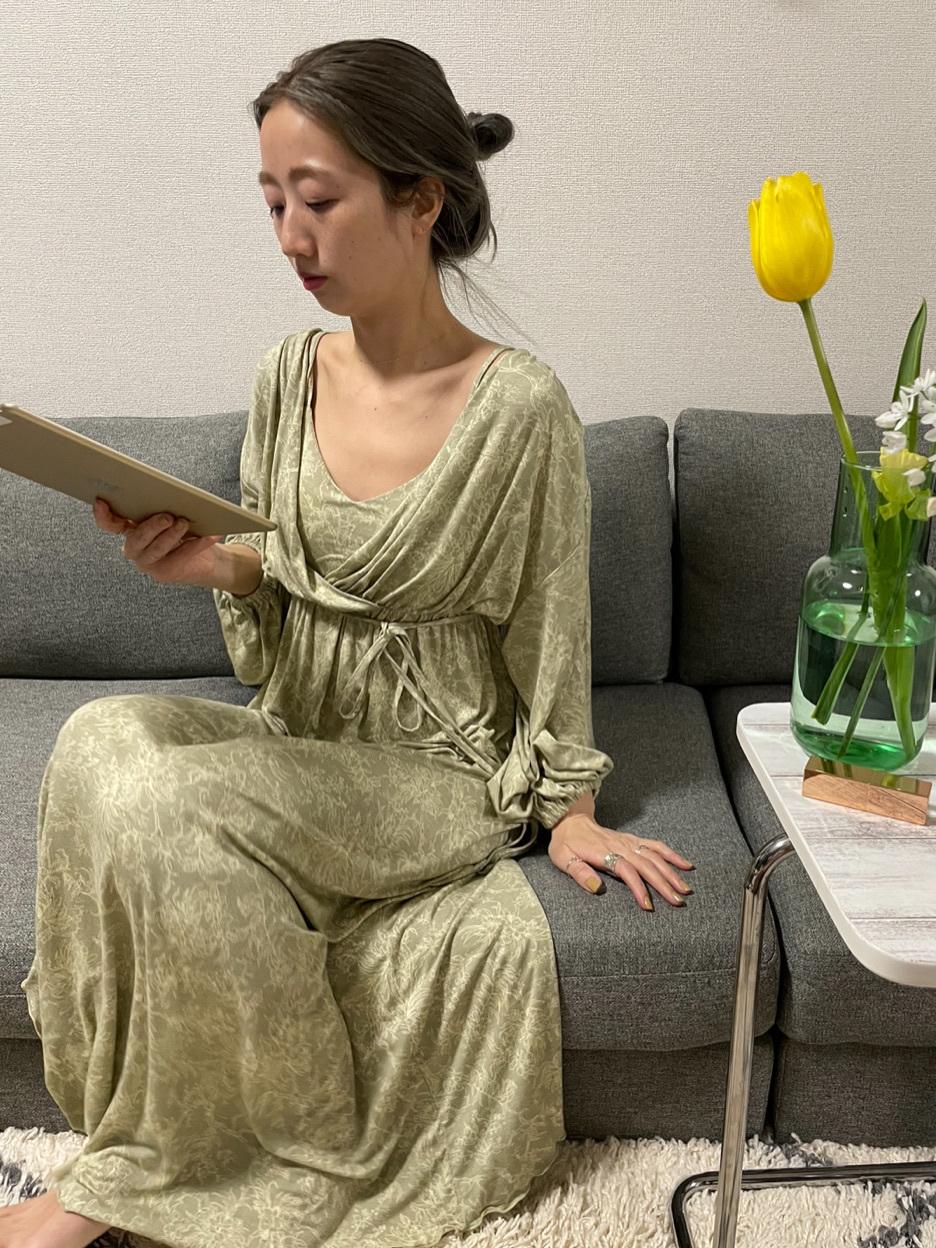 乳木果油 印花嫘縈修身連身裙