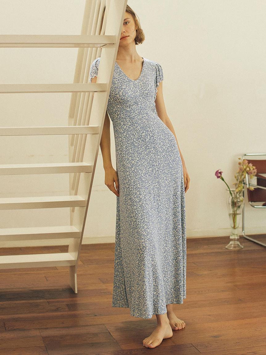 乳油木果油 罩杯式印花洋裝
