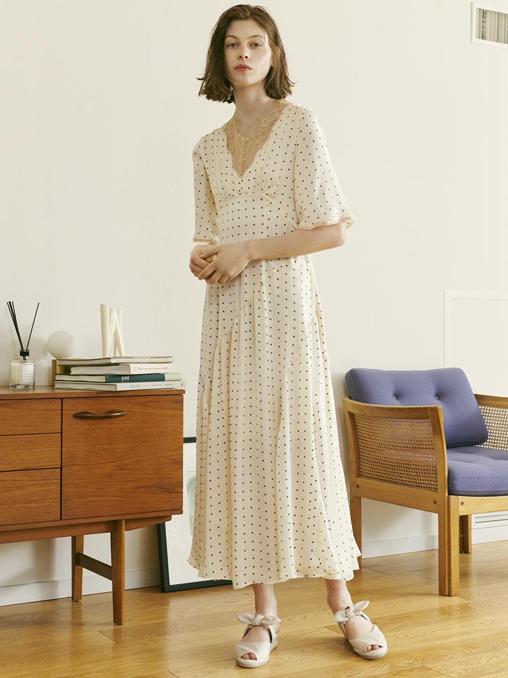 蕾絲拼接家居洋裝