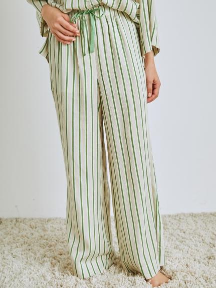 綠茶精華 天絲棉直條紋長褲