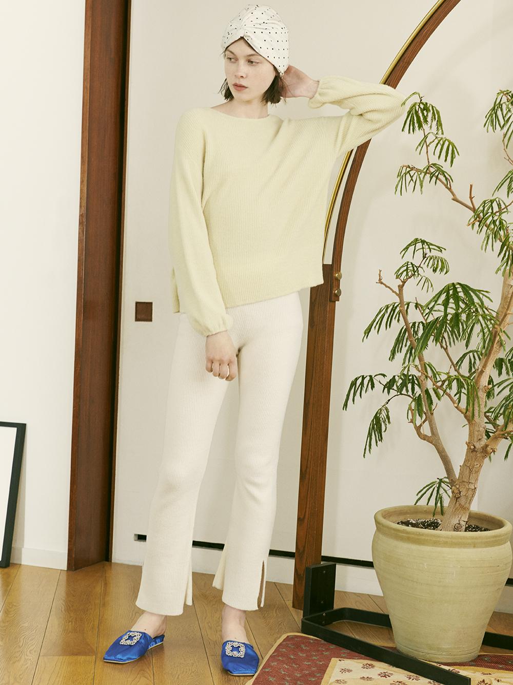 CREAMY羅紋針織長褲