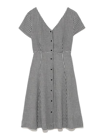 排扣剪裁洋裝