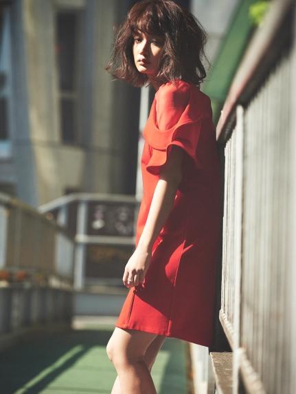 透膚拼接純色洋裝