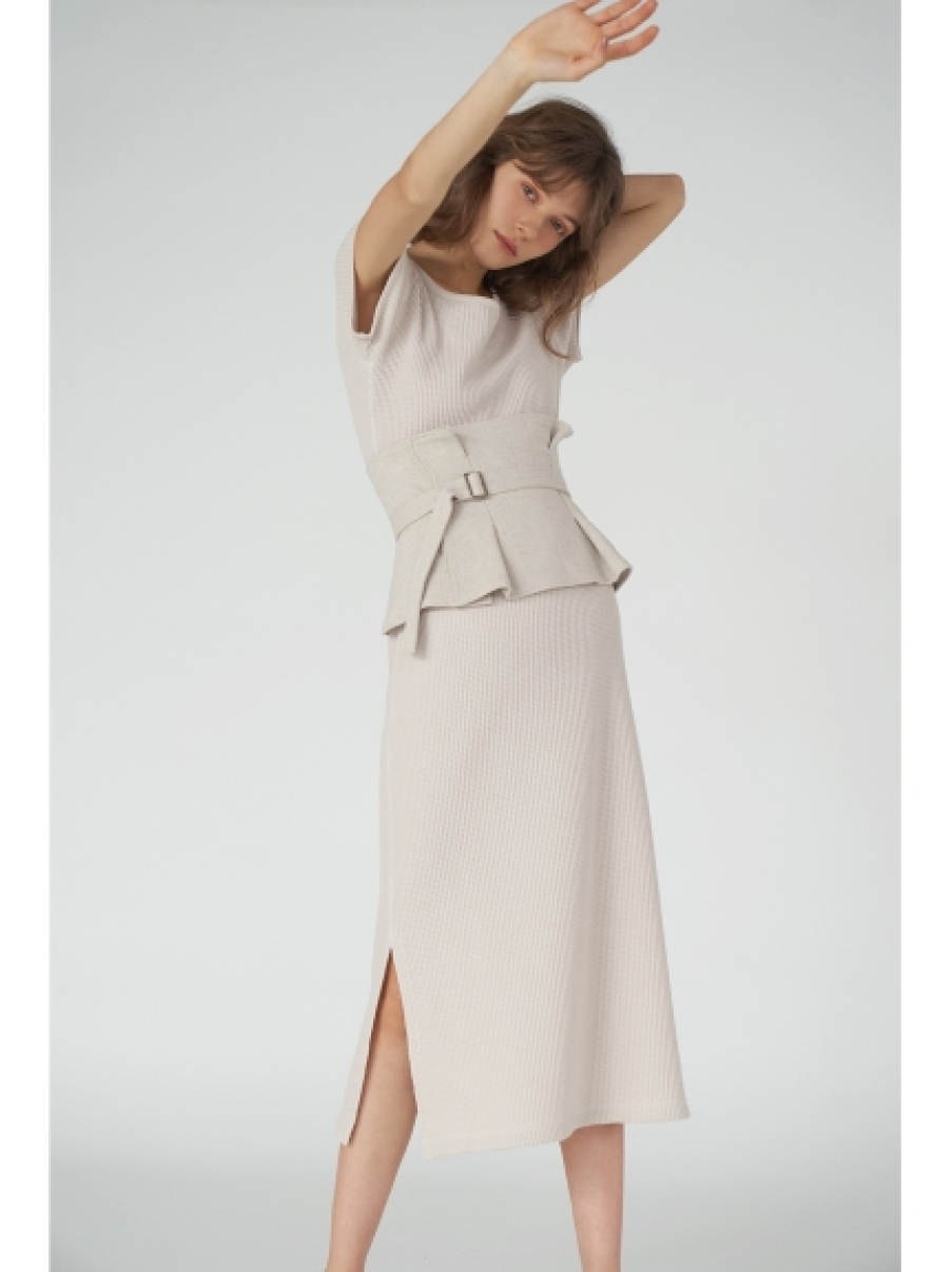 華夫格寬鬆剪裁連衣裙