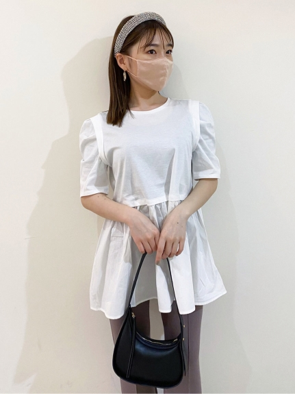 ORGANICS異材質拼接純棉傘襬上衣