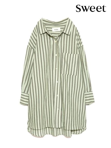 直條紋over size剪裁襯衫