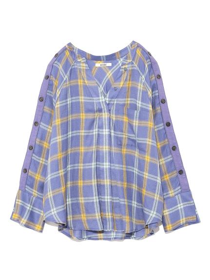側圓釦格紋襯衫