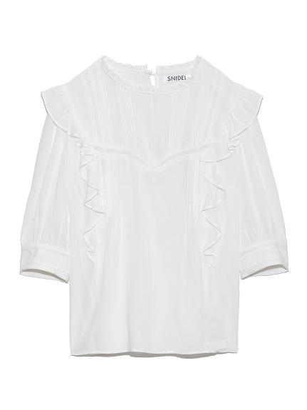 棉質蕾絲荷葉邊裝飾上衣