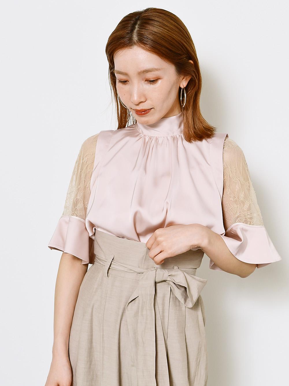 緞質蕾絲透膚袖上衣