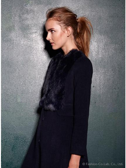 毛領洋裝式大衣