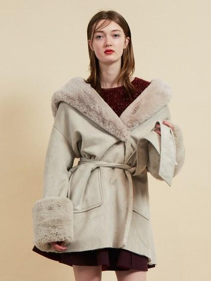 優雅腰帶毛絨短大衣