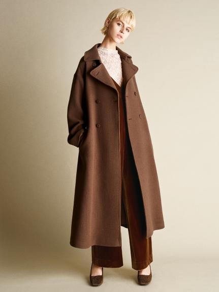 純色縮腰毛呢大衣