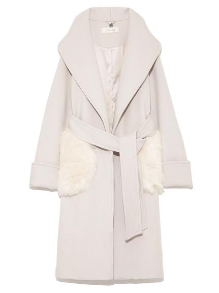 甜美毛絨口袋大衣