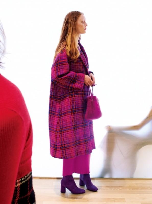 羊毛長版格紋大衣