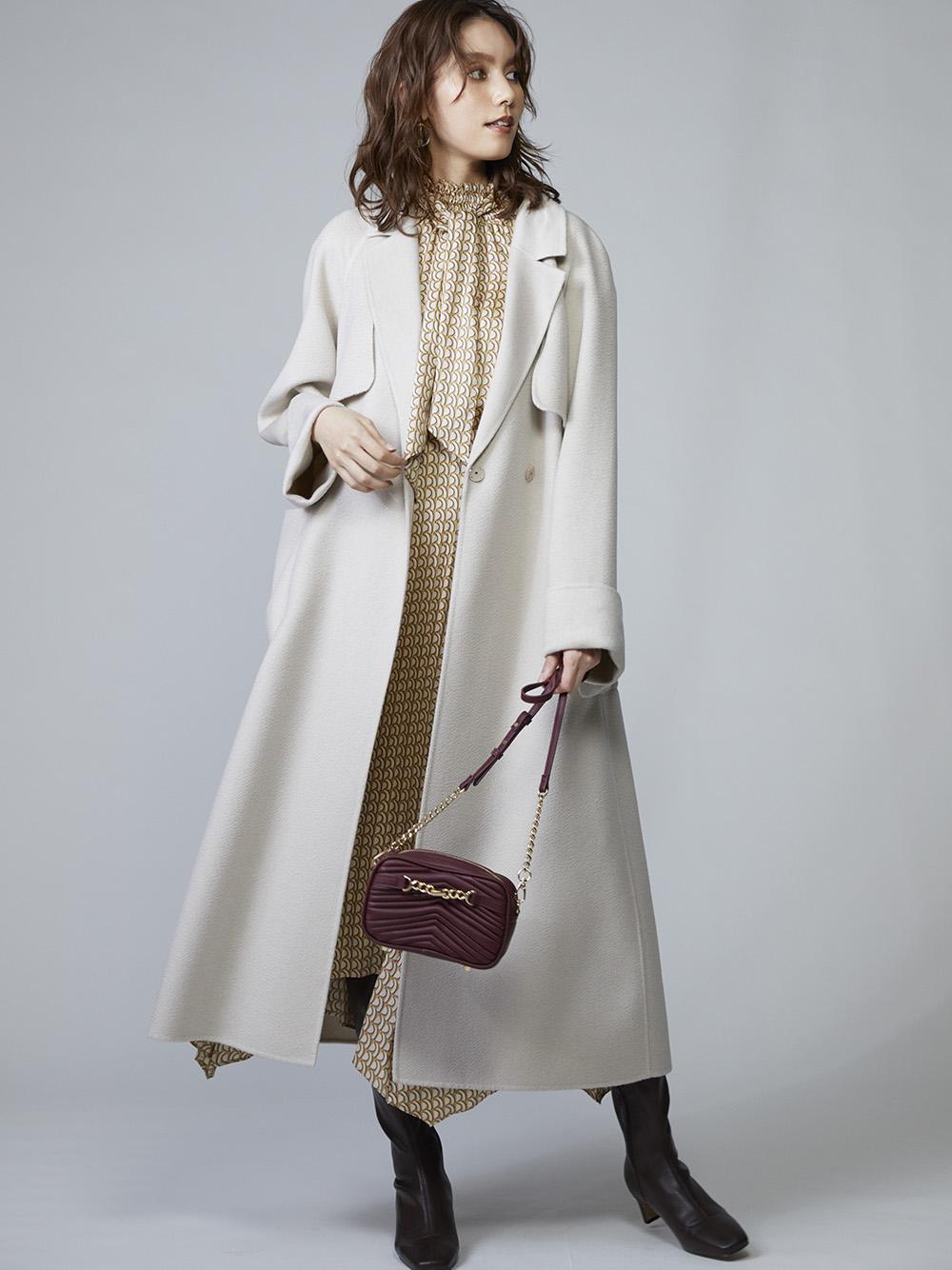 鱗光喀什米爾羊毛大衣
