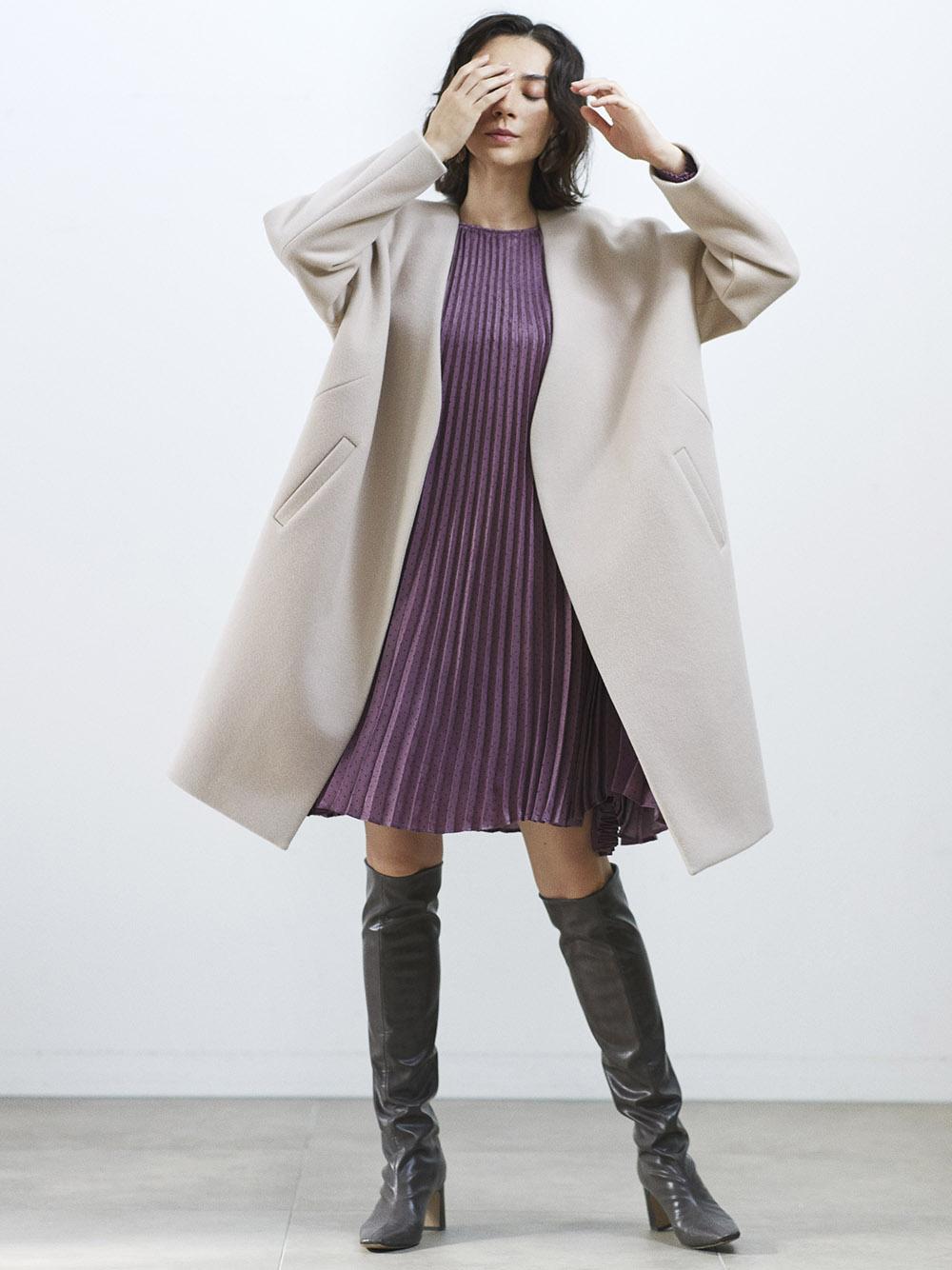 無領羊毛大衣