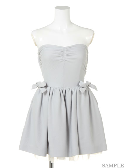 甜美蝴蝶結平口小禮服