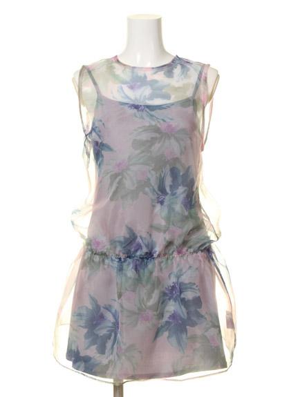 大花朵印花紗質洋裝