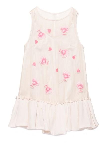 透膚刺繡花朵連身裙